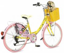Visitor Candy 24 gyerek kerékpár HAJMERESZTŐ ÁRON Sárga-Rózsaszín