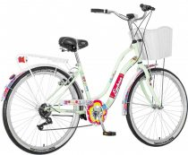 Explorer White Flower virágos női cruiser kerékpár Mentazöld
